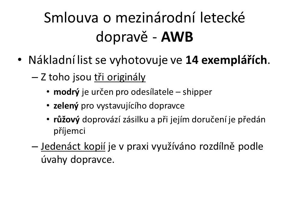 Smlouva o mezinárodní letecké dopravě - AWB