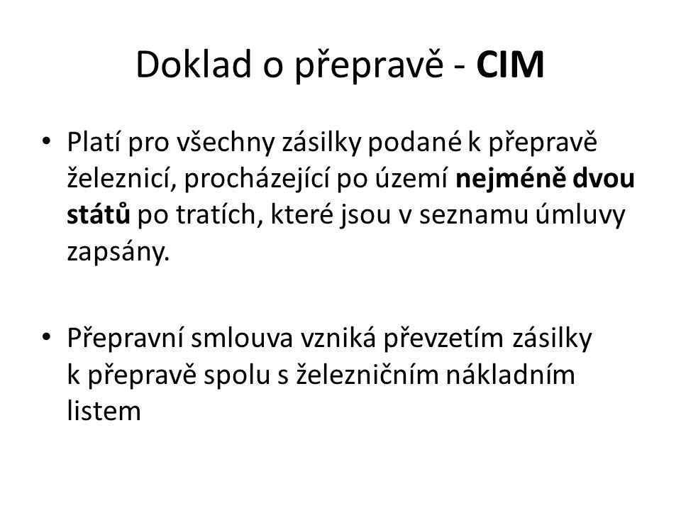 Doklad o přepravě - CIM
