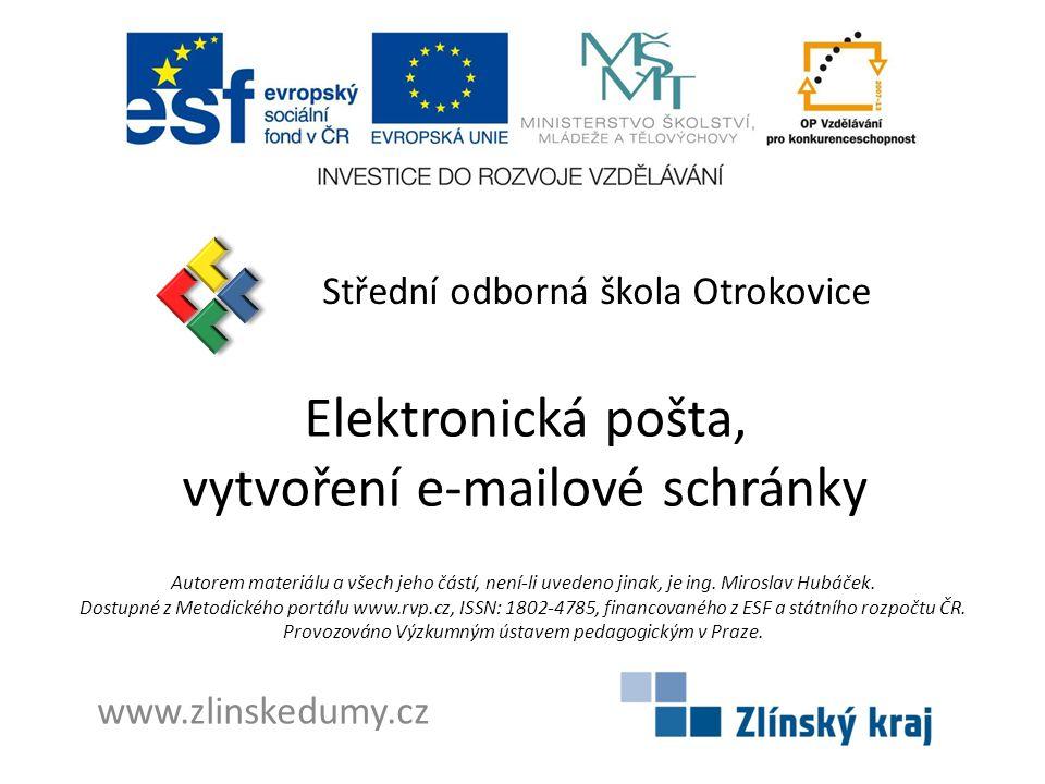 Elektronická pošta, vytvoření e-mailové schránky