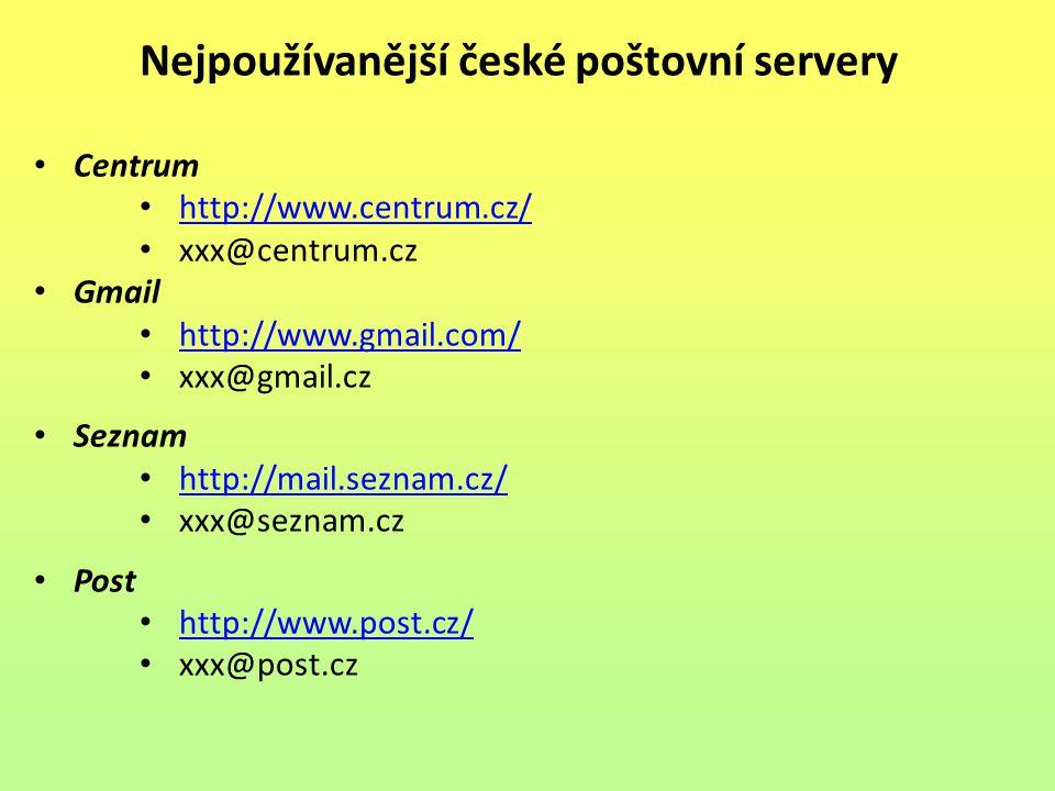 Nejpoužívanější české poštovní servery