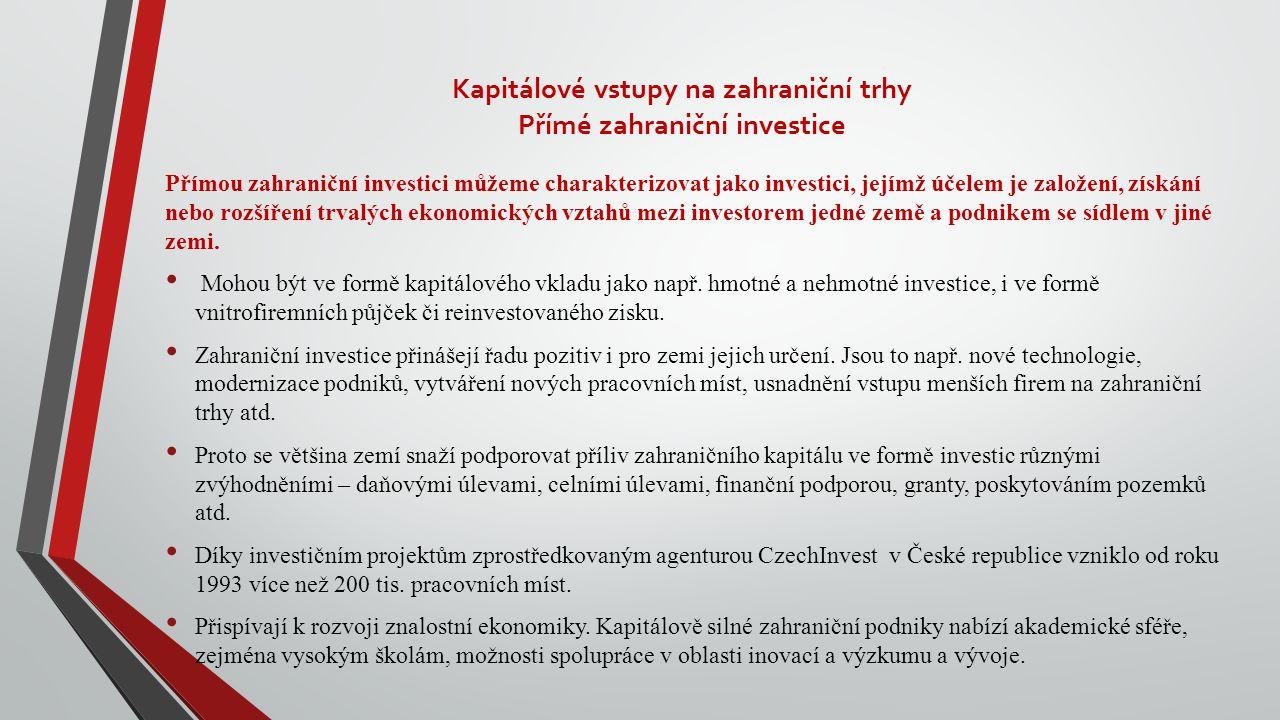 Kapitálové vstupy na zahraniční trhy Přímé zahraniční investice