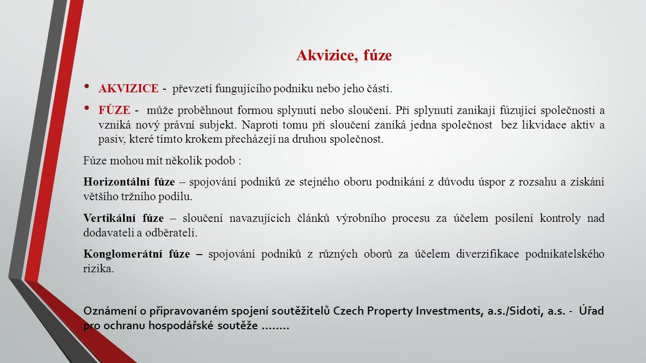 Akvizice, fúze AKVIZICE - převzetí fungujícího podniku nebo jeho části.