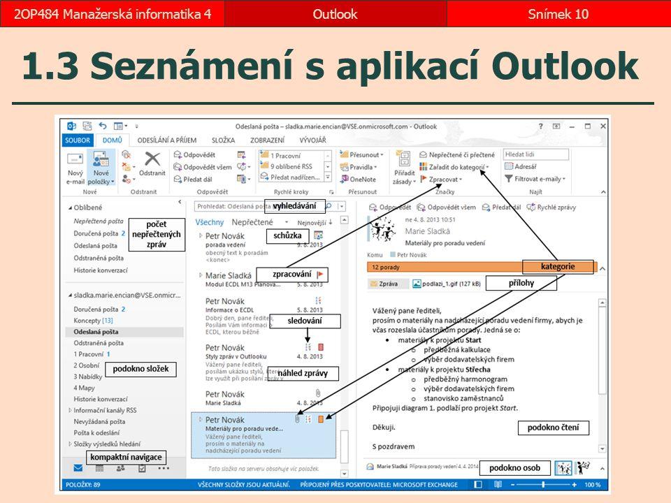 1.3 Seznámení s aplikací Outlook