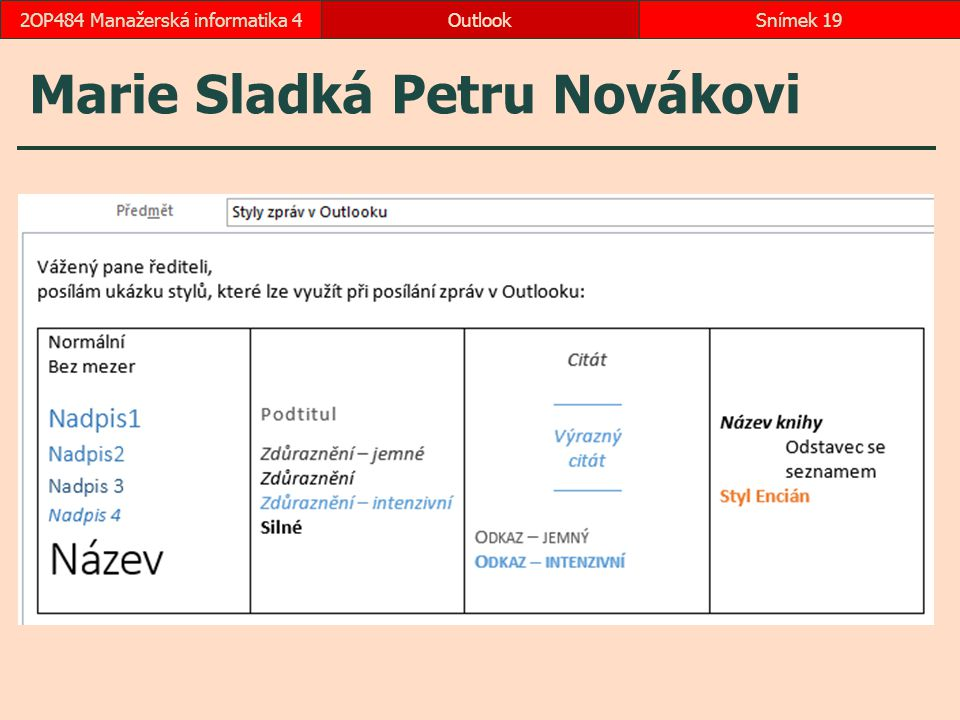 Marie Sladká Petru Novákovi