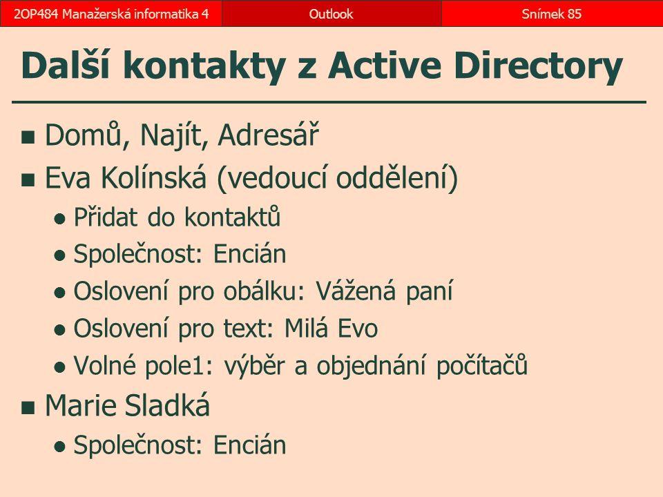 Další kontakty z Active Directory