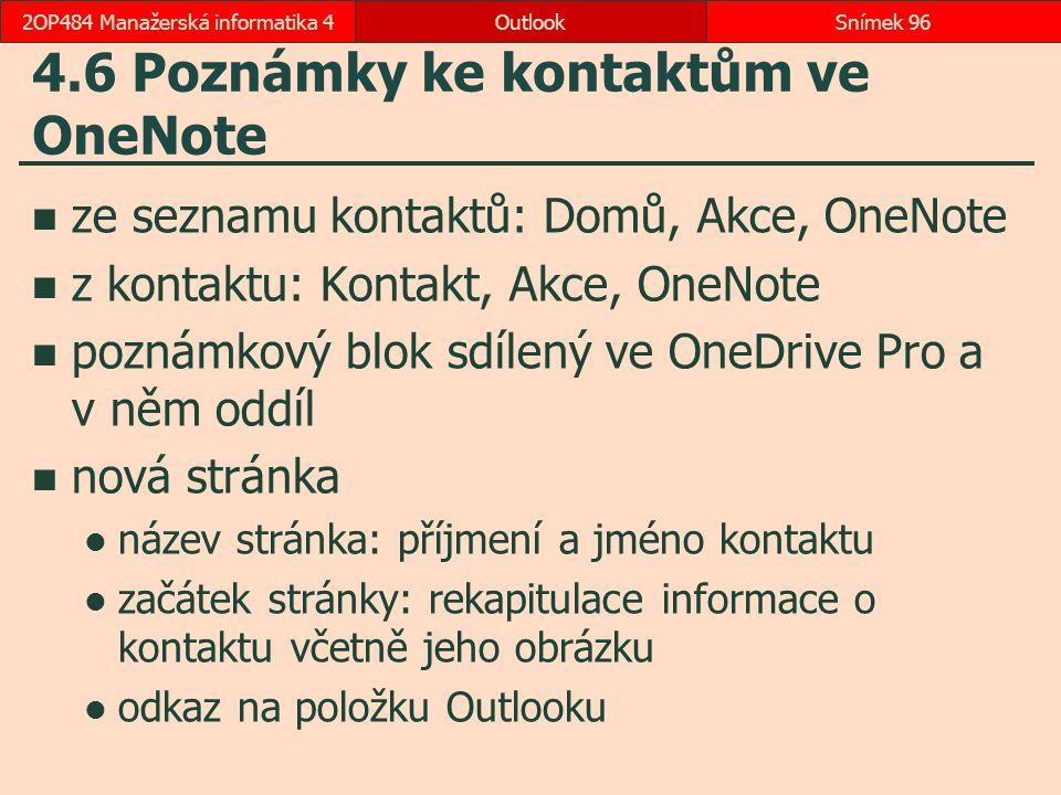 4.6 Poznámky ke kontaktům ve OneNote