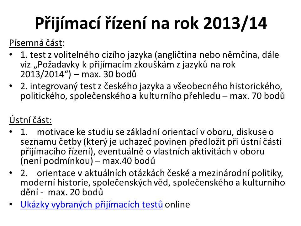 Přijímací řízení na rok 2013/14
