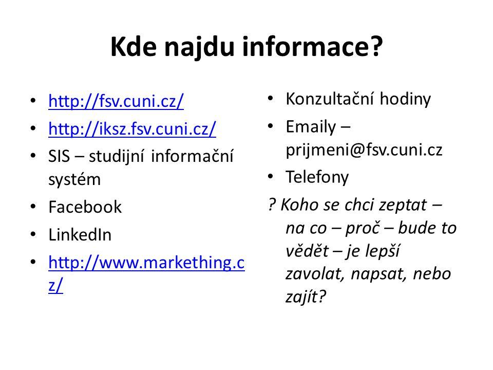 Kde najdu informace Konzultační hodiny http://fsv.cuni.cz/