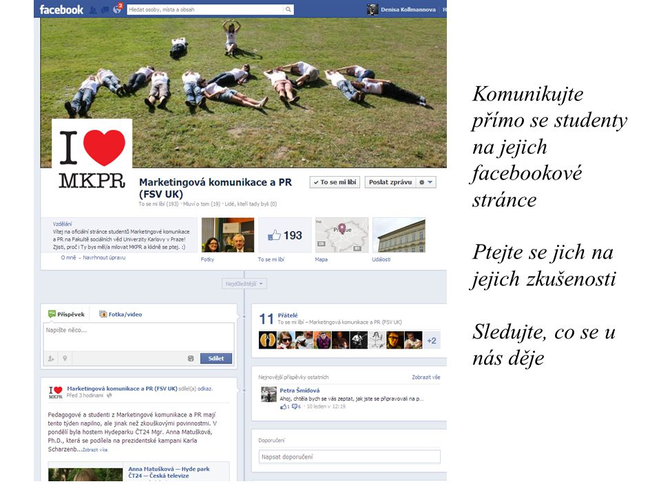 Komunikujte přímo se studenty na jejich facebookové stránce