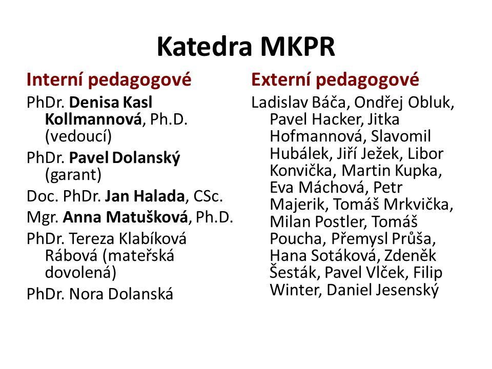 Katedra MKPR Interní pedagogové Externí pedagogové