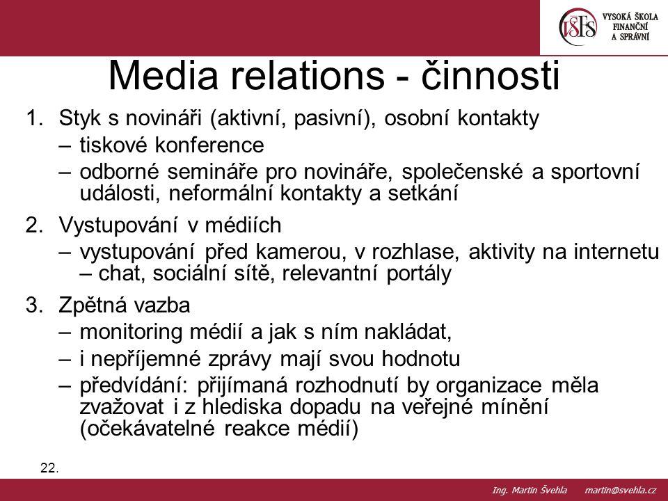 Media relations - činnosti