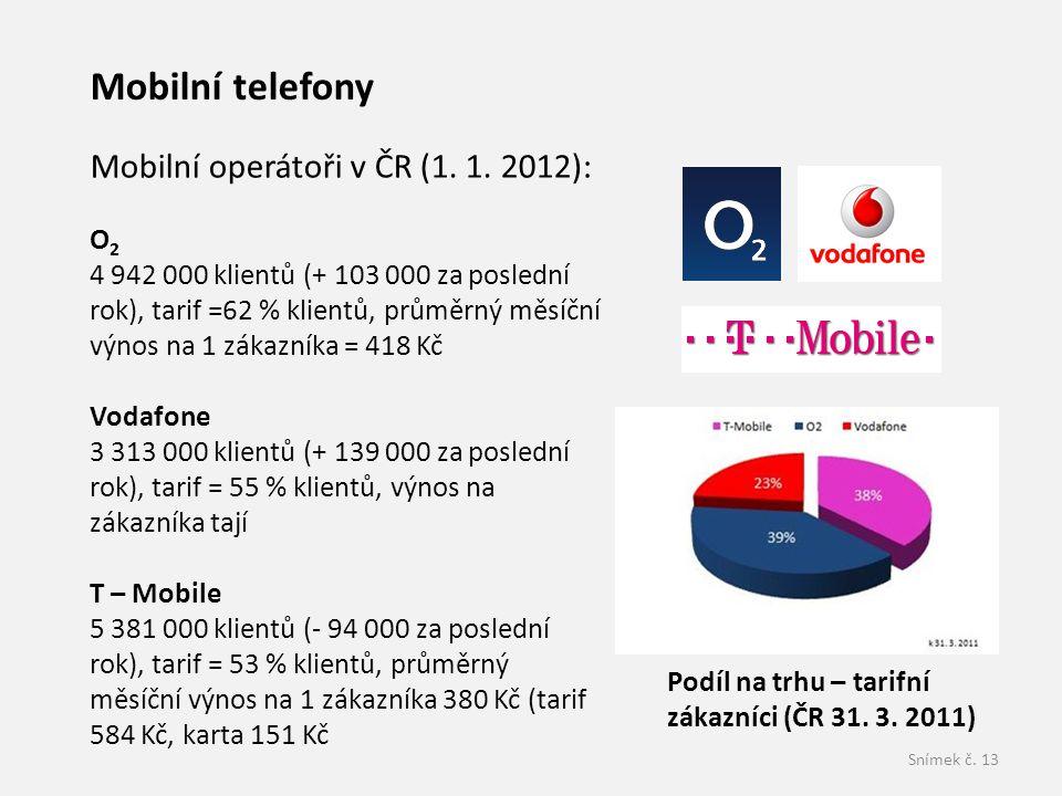 Mobilní telefony Mobilní operátoři v ČR (1. 1. 2012): O2