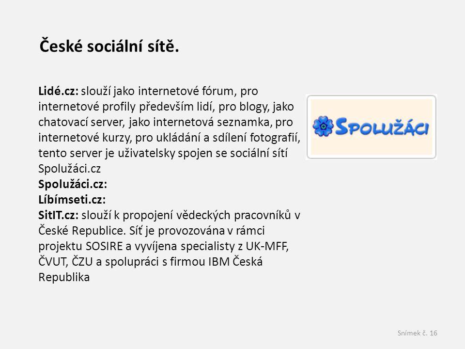 České sociální sítě.