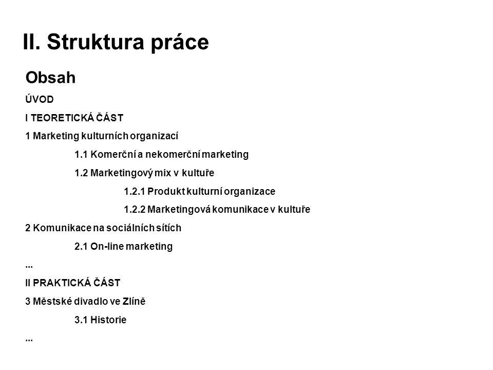 II. Struktura práce Obsah ÚVOD I TEORETICKÁ ČÁST
