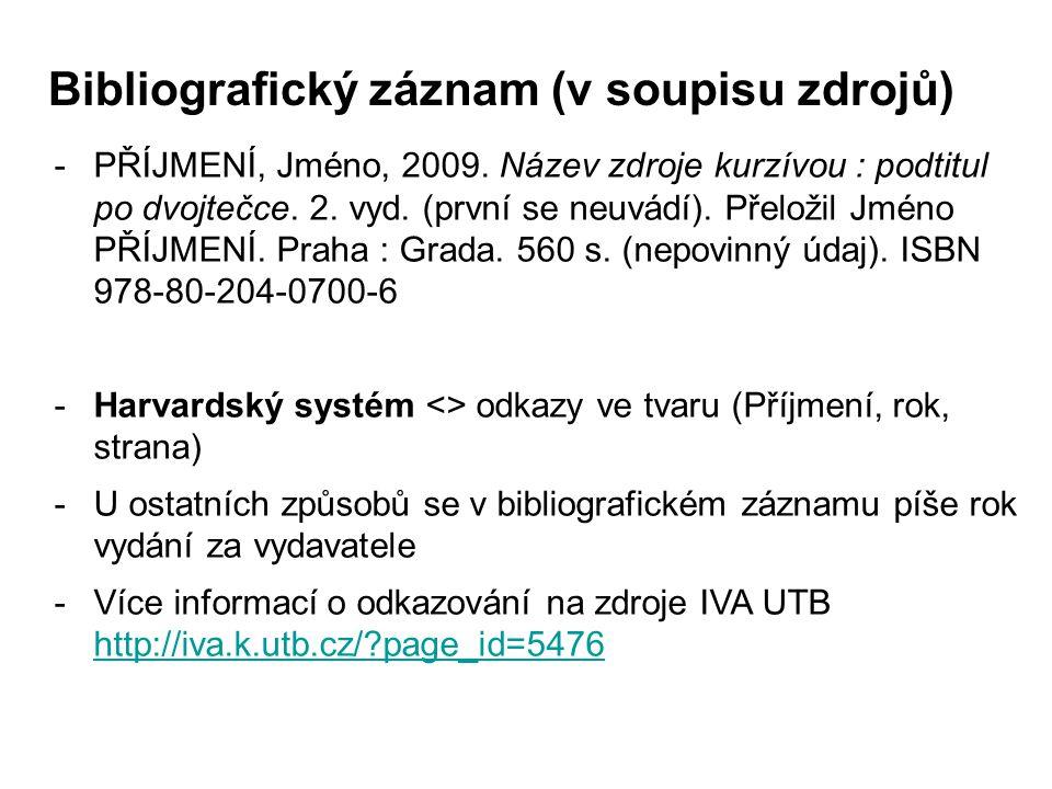 Bibliografický záznam (v soupisu zdrojů)