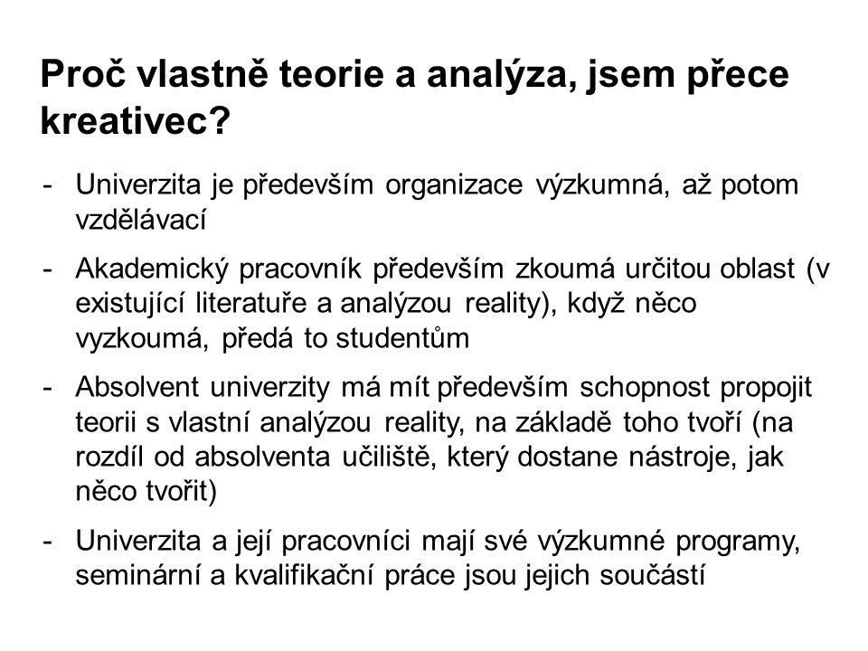 Proč vlastně teorie a analýza, jsem přece kreativec