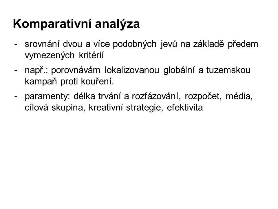 Komparativní analýza srovnání dvou a více podobných jevů na základě předem vymezených kritérií.