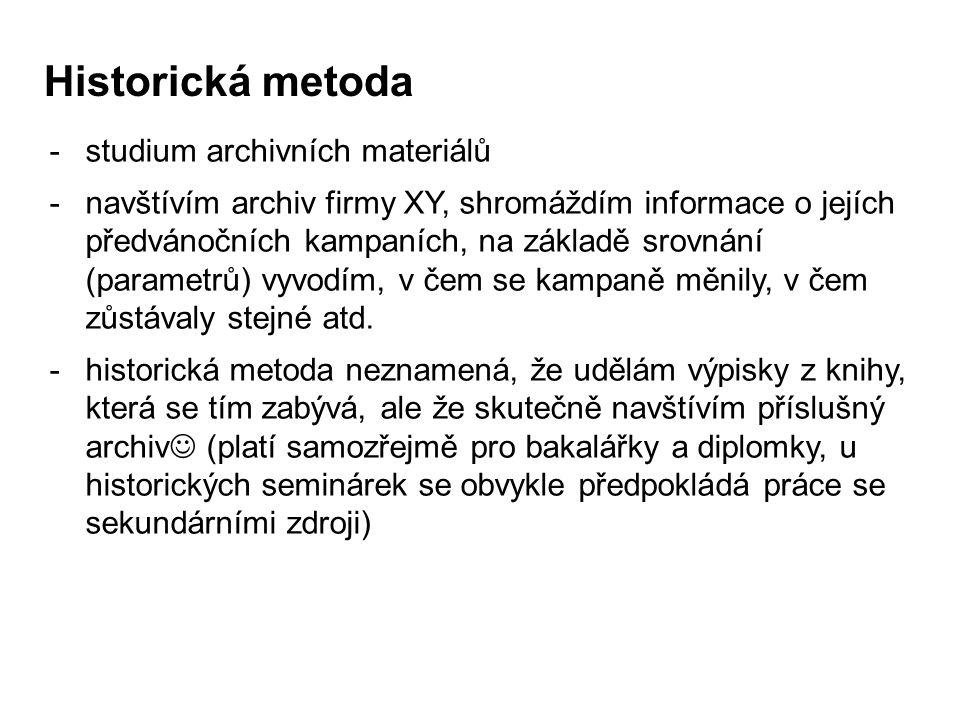 Historická metoda studium archivních materiálů