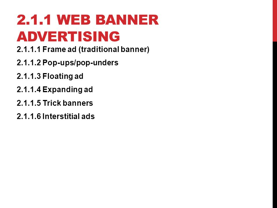 2.1.1 Web banner advertising