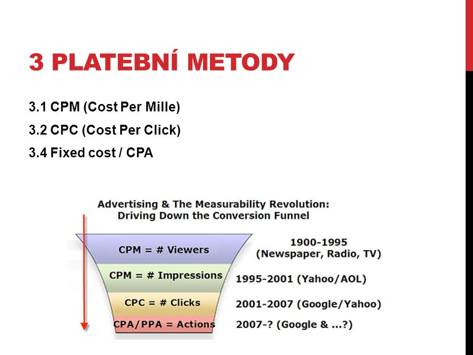 3 Platební metody 3.1 CPM (Cost Per Mille) 3.2 CPC (Cost Per Click) 3.4 Fixed cost / CPA