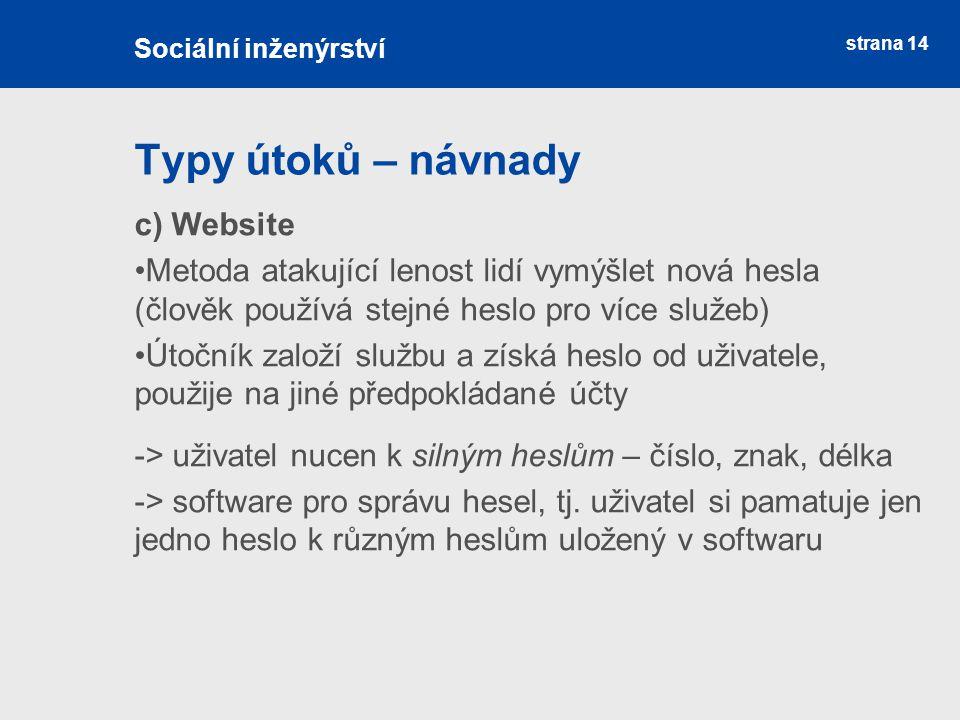 Typy útoků – návnady c) Website