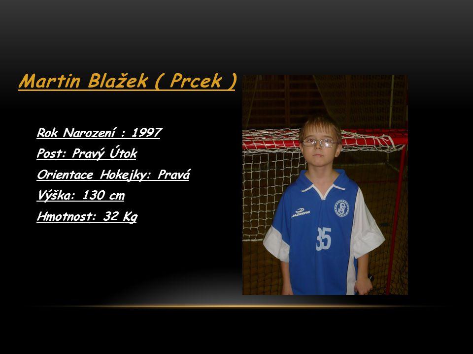 Martin Blažek ( Prcek ) Rok Narození : 1997 Post: Pravý Útok