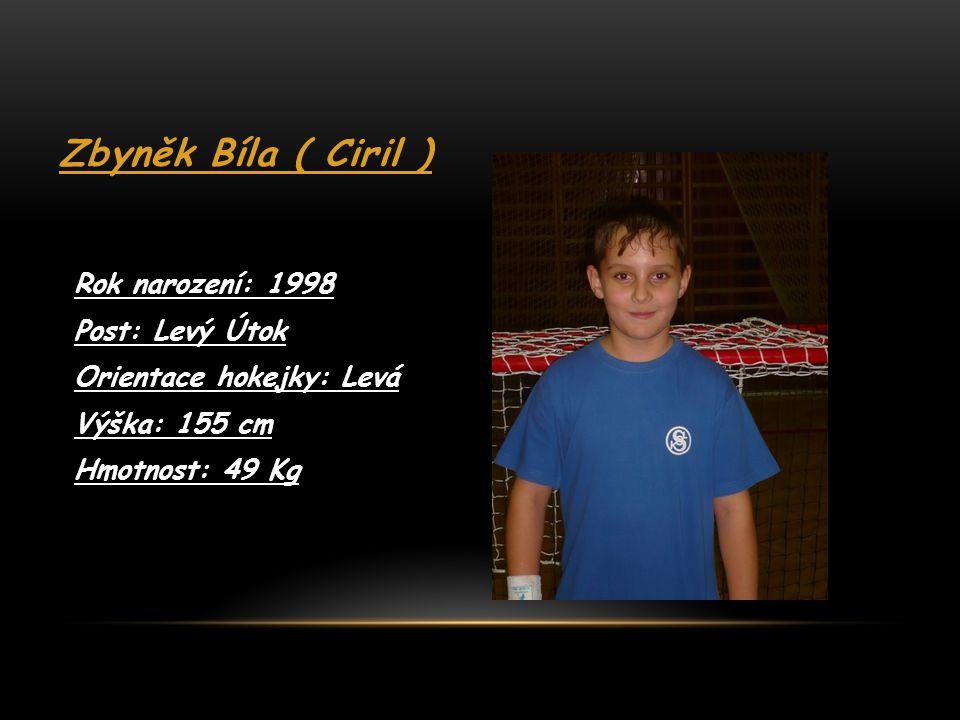 Zbyněk Bíla ( Ciril ) Rok narození: 1998 Post: Levý Útok
