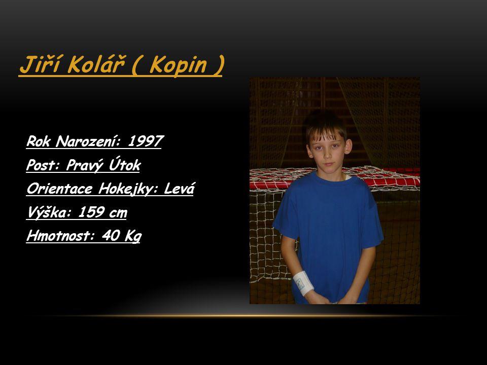 Jiří Kolář ( Kopin ) Rok Narození: 1997 Post: Pravý Útok