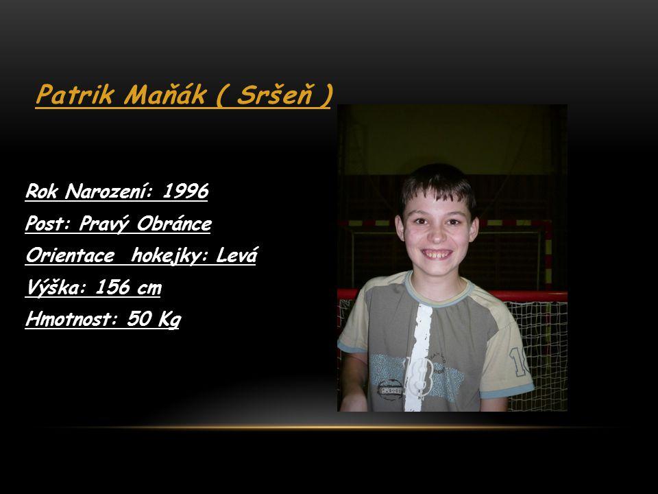 Patrik Maňák ( Sršeň ) Rok Narození: 1996 Post: Pravý Obránce