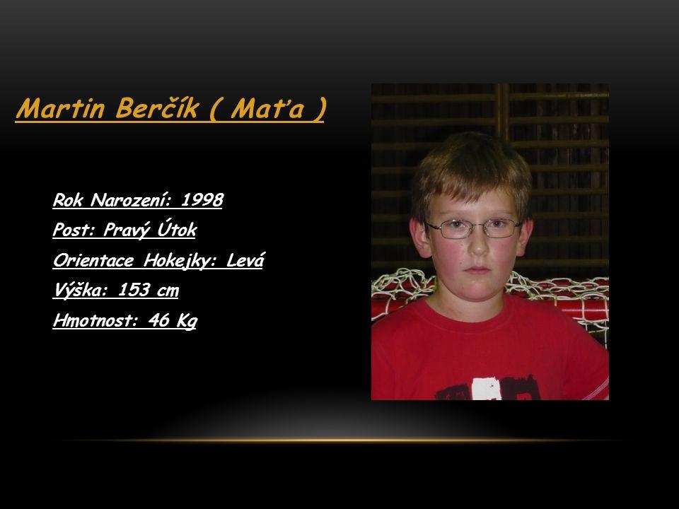 Martin Berčík ( Maťa ) Rok Narození: 1998 Post: Pravý Útok
