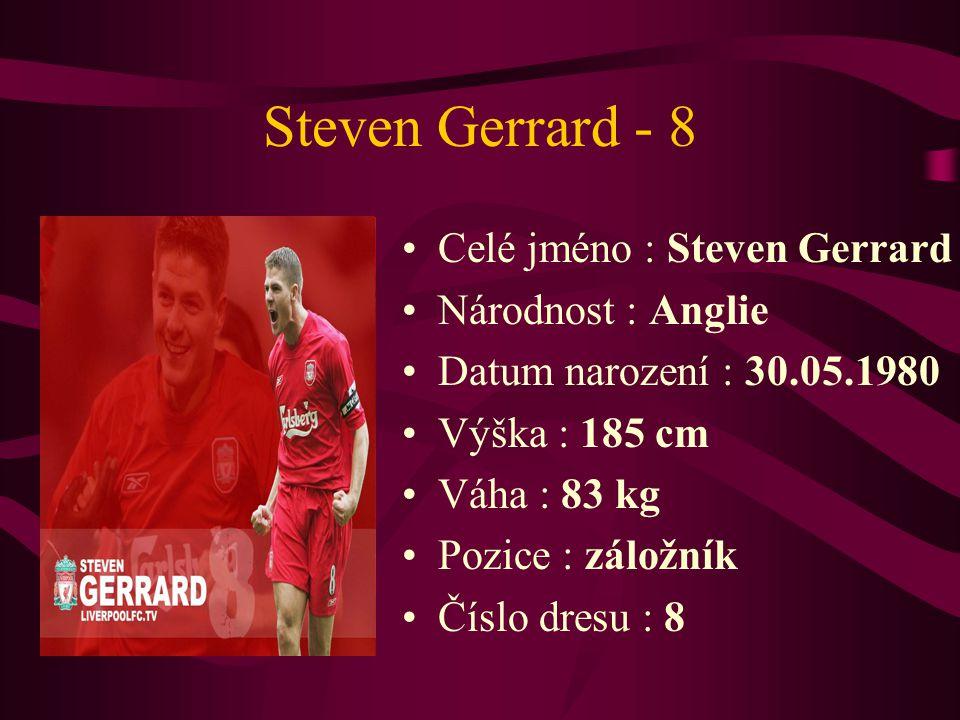Steven Gerrard - 8 Celé jméno : Steven Gerrard Národnost : Anglie