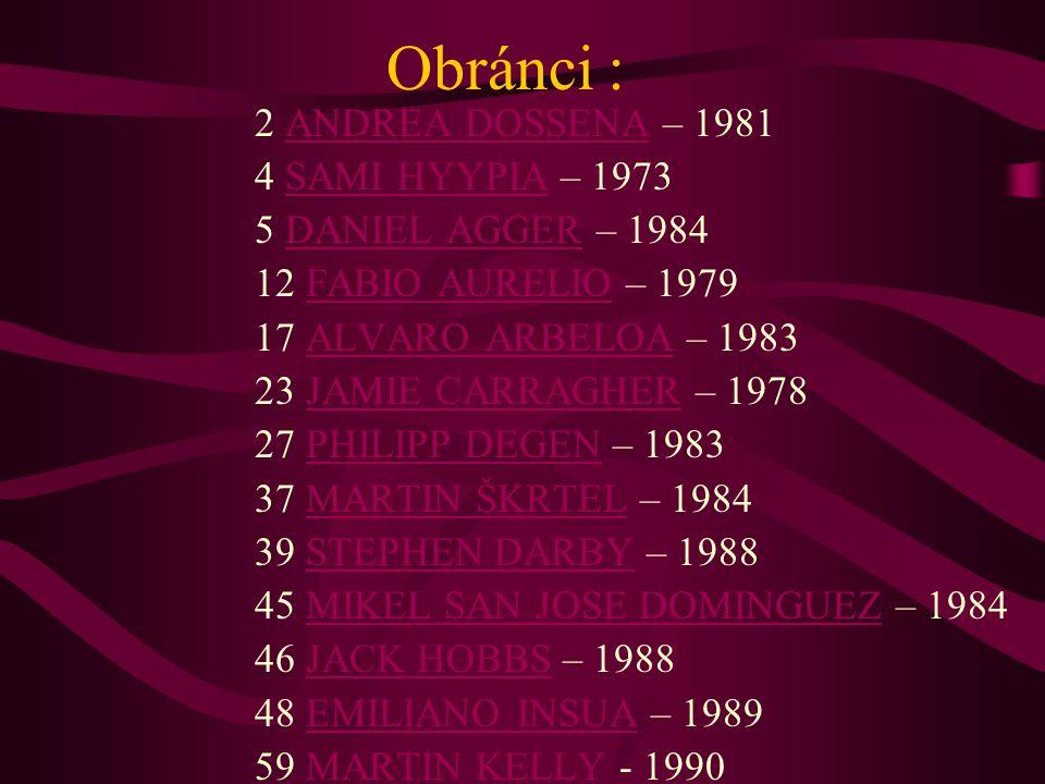 Obránci : 2 ANDREA DOSSENA – 1981 4 SAMI HYYPIA – 1973