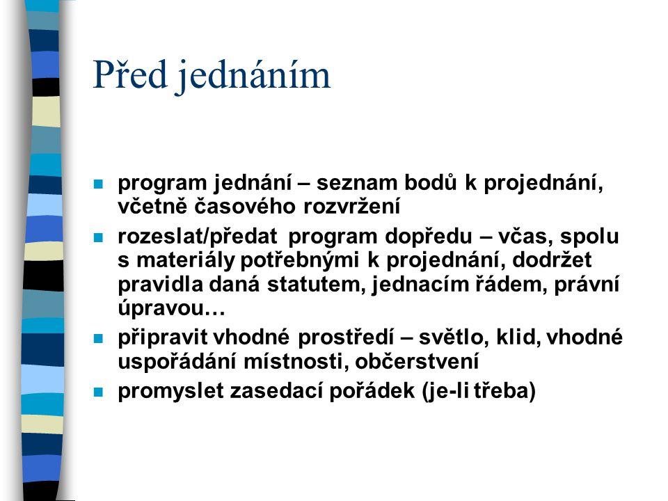 Před jednáním program jednání – seznam bodů k projednání, včetně časového rozvržení.