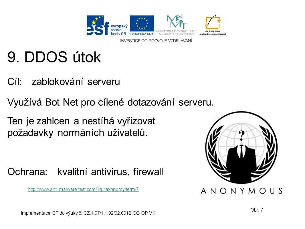 9. DDOS útok Cíl: zablokování serveru