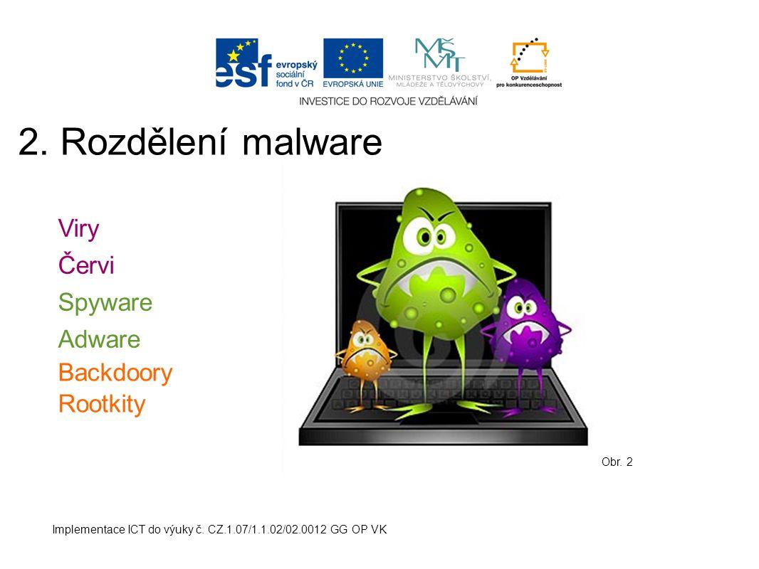 2. Rozdělení malware Viry Červi Spyware Adware Backdoory Rootkity