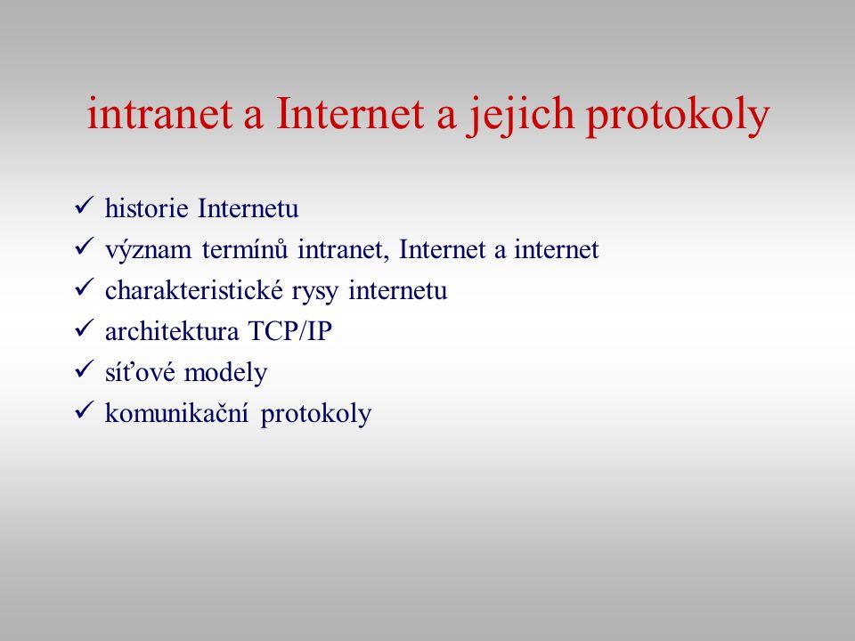 intranet a Internet a jejich protokoly