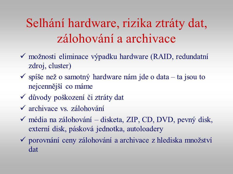 Selhání hardware, rizika ztráty dat, zálohování a archivace
