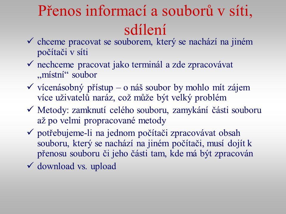Přenos informací a souborů v síti, sdílení