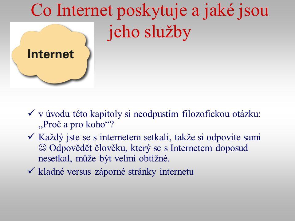 Co Internet poskytuje a jaké jsou jeho služby