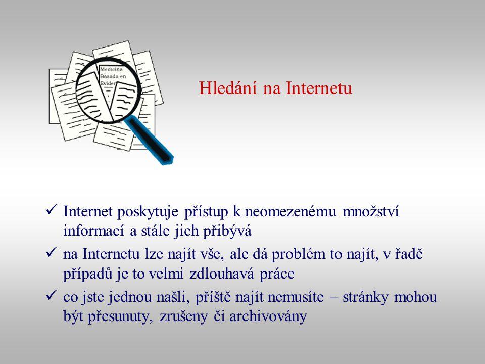 Hledání na Internetu Internet poskytuje přístup k neomezenému množství informací a stále jich přibývá.
