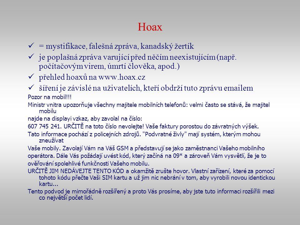 Hoax = mystifikace, falešná zpráva, kanadský žertík