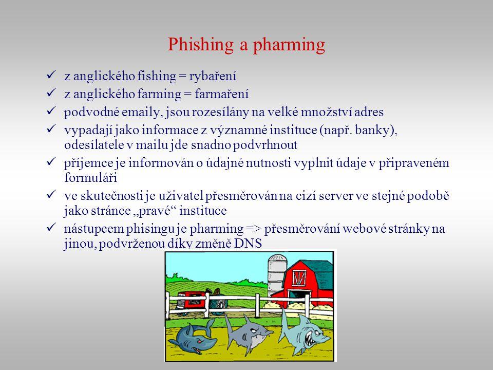 Phishing a pharming z anglického fishing = rybaření