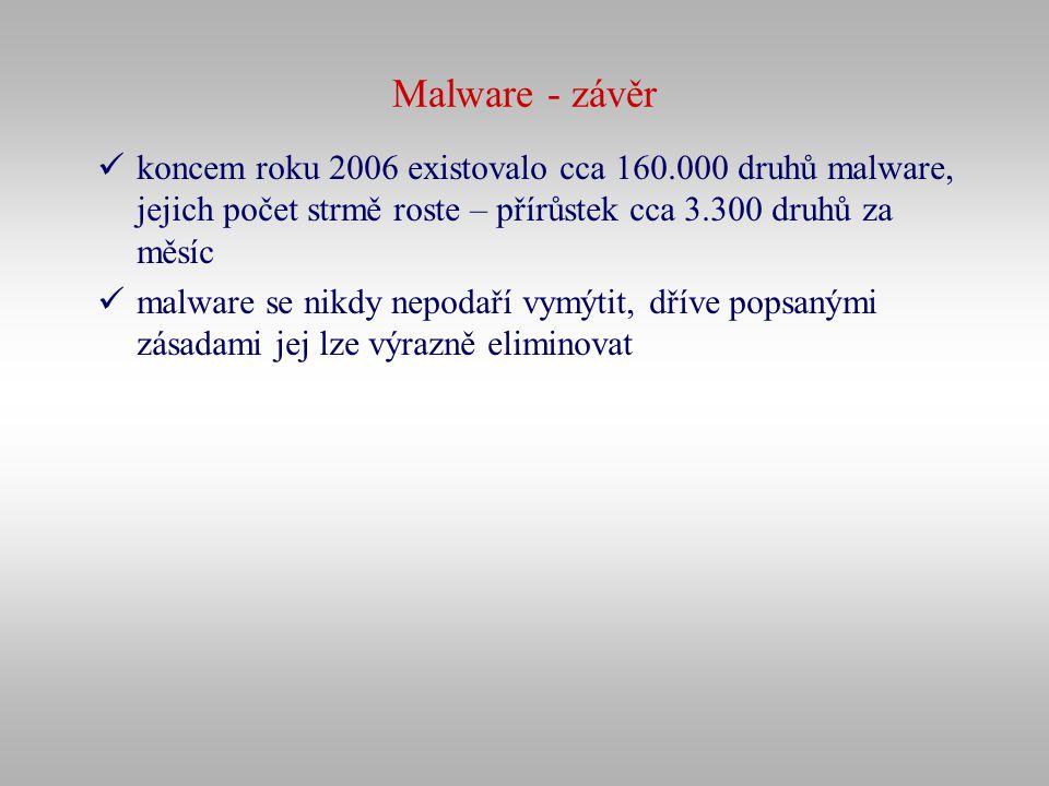 Malware - závěr koncem roku 2006 existovalo cca 160.000 druhů malware, jejich počet strmě roste – přírůstek cca 3.300 druhů za měsíc.