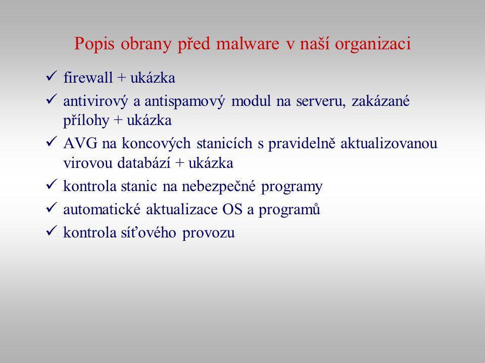 Popis obrany před malware v naší organizaci