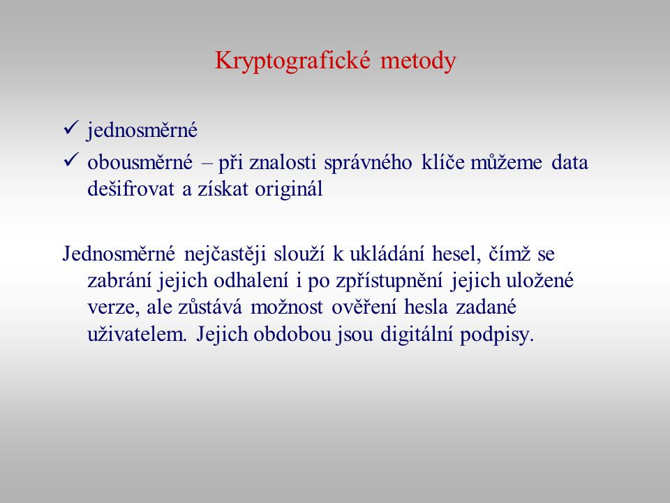 Kryptografické metody