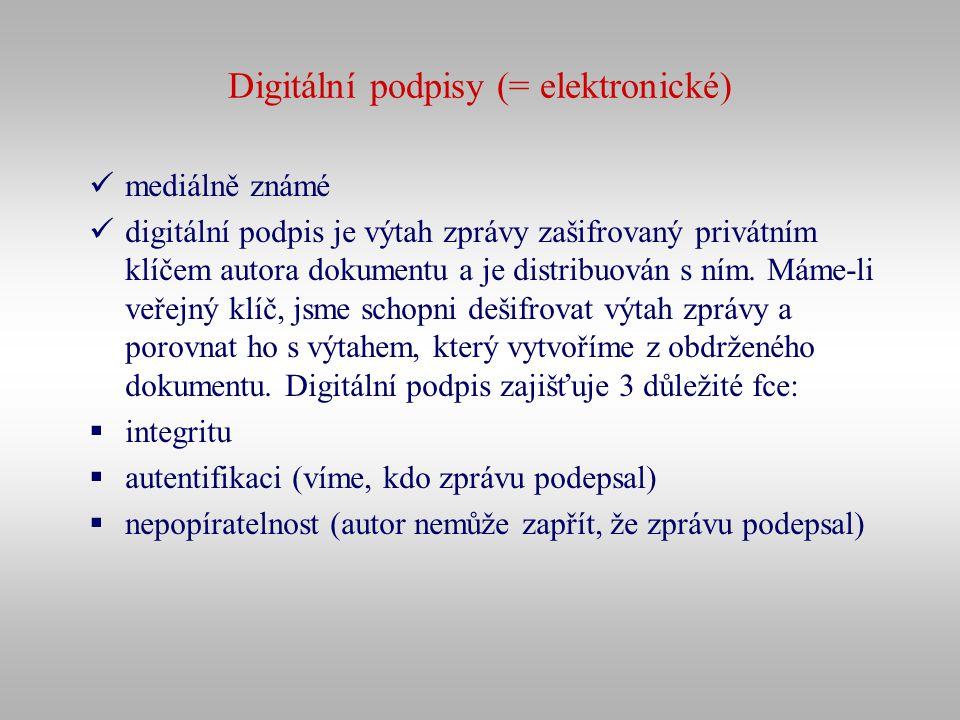Digitální podpisy (= elektronické)