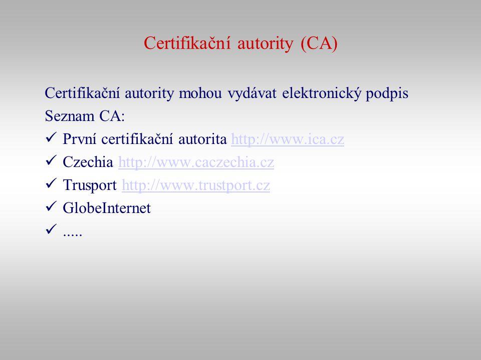 Certifikační autority (CA)