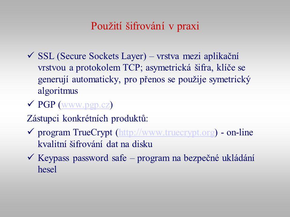 Použití šifrování v praxi