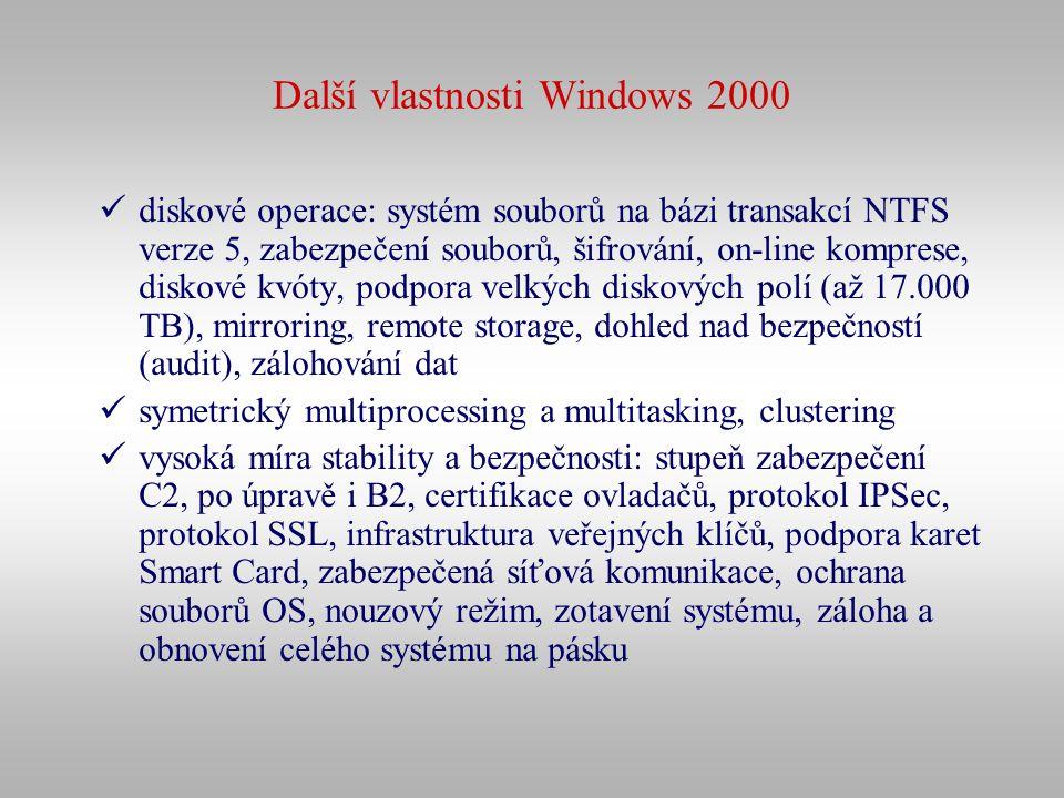 Další vlastnosti Windows 2000