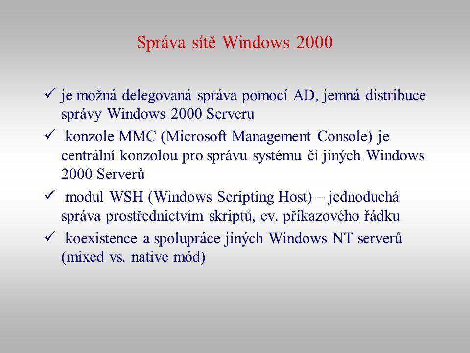 Správa sítě Windows 2000 je možná delegovaná správa pomocí AD, jemná distribuce správy Windows 2000 Serveru.